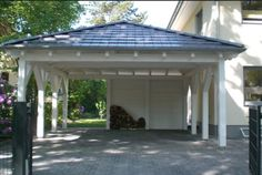 A hipped roof carport offers more security in case of unfavorable . A hipped roof carport offers more safety in adverse weather conditions. Carport Plans, Carport Garage, Pergola Carport, Shed Plans, Carport Ideas, Detached Garage, Garage Ideas, Cheap Pergola, Driveway Ideas