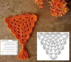 Crochet Triangle Pattern, Crochet Border Patterns, Crochet Chart, Love Crochet, Crochet Motif, Beautiful Crochet, Crochet Designs, Crochet Doilies, Crochet Flowers