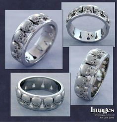 Custom Men's Platinum Skull Wedding Ring with Diamond Eyes! #imagesjewelers #customjewelry #weddingring #mensring #skull #skeleton #diamond