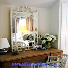 mismatch, old table with faux bamboo mirror Dressing Table Furniture Design, Bamboo Mirror, Mirror Mirror, Bamboo Lamp, White Mirror, Wooden Vanity, Antique Vanity, Wooden Desk, Vintage Vanity