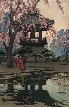 "Amazon.com: Japanese Art Print ""In a Temple Yard"" by Yoshida Hiroshi, Color 1 (12""x19""): Posters & Prints"