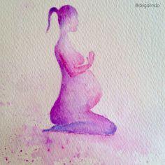 Copyright by Adriana Galindo - Pregnant yoga, watercolor Gestante, meditacao, meditation, namaste aquarela s/ papel, 18 x 13 cm. Available drigalindo1@gmail.com