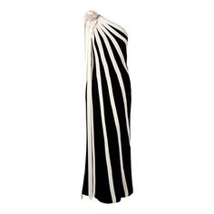 1960's Black & Ivory Stripe Knit Asymmetric One-Shoulder Hourglass Evening Gown | From a collection of rare vintage evening dresses at https://www.1stdibs.com/fashion/clothing/evening-dresses/