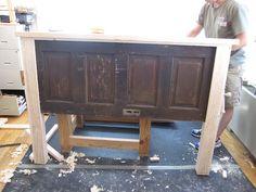 Old Barn Doors, Old Wooden Doors, Reclaimed Doors, Rustic Doors, Build A Headboard, Headboard From Old Door, Headboard Ideas, Bedroom Ideas, Barn Door Headboards