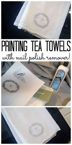 Printing Tea Towels with a Monogram Printing tea towels with nail polish remover!<br> Great tutorial for printing tea towels with an image and nail polish remover. You will not believe how easy this technique is! Fabric Crafts, Sewing Crafts, Kitchen Art Prints, Country Nails, Towel Crafts, Nail Polish, Creative Crafts, Creative Ideas, Crafts To Make
