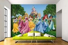 Disney Princesses Wallpaper Mural By WallandMore. Nursery Wallpaper, Paper Wallpaper, Photo Wallpaper, Disney Wallpaper, Baby Room Wall Decor, Nursery Decor, Disney Wall Murals, How To Apply Wallpaper, Poster