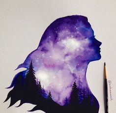 It would be interesting to paint a watercolor page and then cut out a silhouette like this