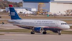 US Airways taxing off of he runway at IND!  A319 Airbus