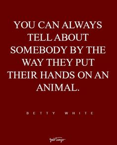 """""""You can always tell about somebody by the way they put their hands on an animal."""" — Betty White"""
