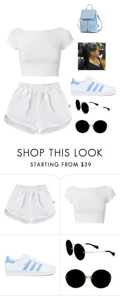"""whiteonwhite"" by cutietworld on Polyvore featuring Helmut Lang, adidas and Miu Miu"