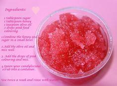 You may add candy flavoring to take up a notch to match t… Pretty Pink Lip Scrub. You may add candy flavoring to take up a notch to match the color. I like strawberry. Body Scrub Diy, Diy Scrub, Lip Scrub Homemade, Sugar Scrub Diy, Sugar Scrubs, Zucker Schrubben Diy, Diy Lip Balm, Tips Belleza, Beauty Recipe