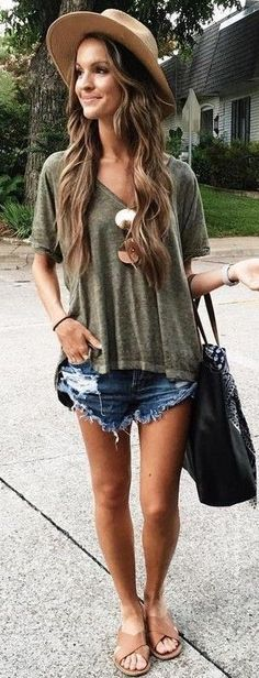 #summer #lovely #fashion | Olive Tee + Cut Offs