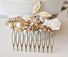 Promise  TRUE Vintage Collage Hair Comb Gold by hangingbyathread1, $54.00