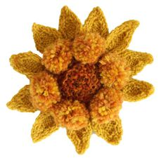 Knit Sunflower from my new book 50 Sunflowers to Knit Crochet and Felt. Getting Stitched on the Farm