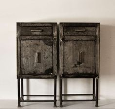 Pair of French Metal Cabinets / End Tables circa 1930