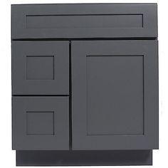 Everyday Cabinets 30-inch Gray Shaker Single Sink Bathroom Vanity Cabinet R