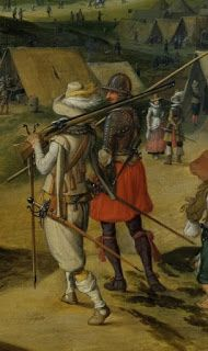 Detail of Spanish musketeer and pikeman at Ostend (1601-1604). (Sebastian Vrancx)