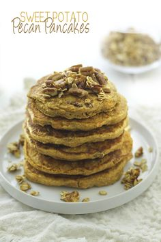 Make your mornings a little sweeter with these fluffy Sweet Potato Pecan Pancakes. They& healthy and gluten-free with the added bonus of sweet potato! Pecan Pancakes, Sweet Potato Pancakes, Sweet Potato Pecan, Sweet Potato Recipes, Waffles, Pecan Recipes, Fall Recipes, Baking Recipes, Real Food Recipes