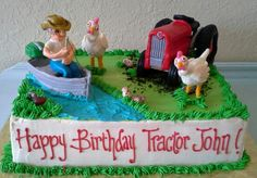 Funny fishing tractor cake