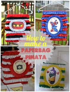 How to make a paper bag pinata. Paper grocery bags + plastic hangar + crepe paper + google image + candy = the best and cheapest pinata idea ever!