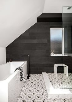 Great floor tile, maybe for the half bath. The dark tile on the back wall shows that with a patterned floor the dark wall works well.