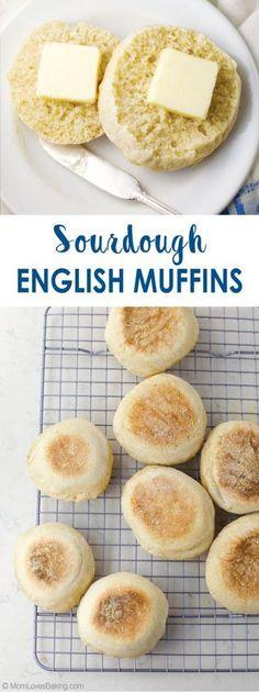 Sourdough English Muffins, Homemade English Muffins, Homemade Buns, Homemade Dinner Rolls, Cooking Bread, Bread Baking, Sourdough Recipes, Bread Recipes, English Muffin Recipes