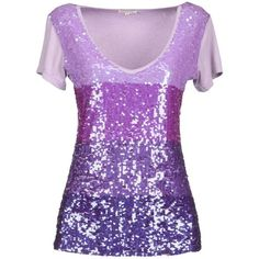 P.A.R.O.S.H. Sweater ($130) ❤ liked on Polyvore featuring tops, shirts, purple, t-shirts, blusas, shirts & tops, purple shirt, sequin shirt, short sleeve shirts e purple sequin shirt