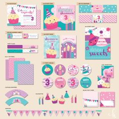"CUSTOM Cute as a Cupcake Birthday - ""The Mostess"" PRINTABLE Party Collection (Pink Teal Purple). $42.00, via Etsy."