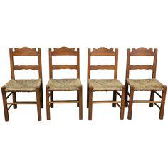 1930s Set of Four Coronado Chairs with Rush Seat