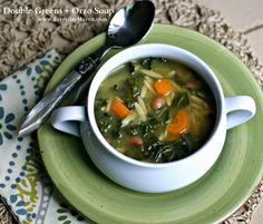 {Vegan} Double Greens, Beans and Orzo Soup  4 Weight Watchers Points Plus