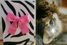 DIY cute zebra notebook of plain cat notebook ... wallpaper + glue + bow