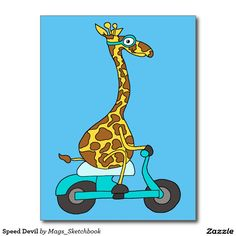 Speed Devil Postcard - #Giraffe on a #Vespa :)