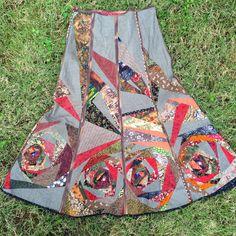 Купить Мерцание звезд - хаки, орнамент, пэчворк, лоскутная юбка, фолк, москва, полет, осень