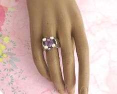Sterling silver amethyst ring with large amethyst in modernist elevated setting, statement ring, 13 grams, size U / by CardCurios on Etsy Type Setting, Amethyst Stone, Statement Rings, Vintage Rings, 1970s, Engagement Rings, Band, Sterling Silver, Etsy