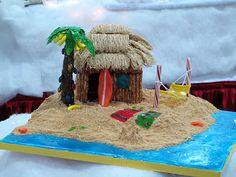 beach themed christmas trees   Beach themed gingerbread house