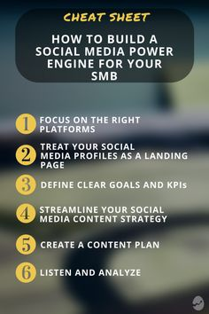 6 Tips for building a social media power engine for your SMB Social Media Cheat Sheet, Social Media Content, Social Media Tips, Social Networks, Social Media Marketing, Twitter Tips, Social Platform, Engineering, How To Plan