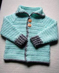 Crochet Baby Sweater with Collar | Gender Neutral by AJHansenHandmade