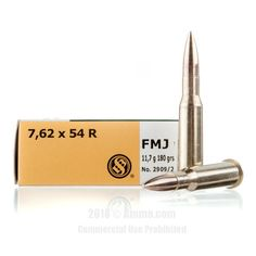 Sellier and Bellot Ammo - 20 Rounds of 180 Grain FMJ Ammunition