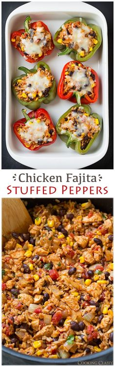 Chicken Fajita Stuffed Bell Peppers - These healthy peppers are delicious! This would make a great taco filling if you don't want to do peppers. It has chicken, brown rice, black beans, corn, tomatoes, onions, seasonings, lime, and cilantro.