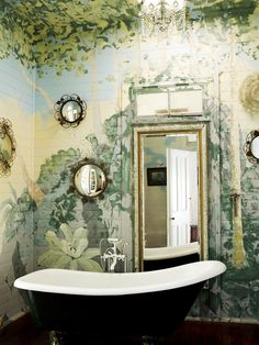 Botanical, floral bathroom with black & white tub