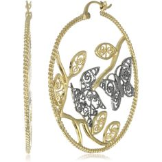 Isharya Tree Of Life Filigree Gold-Black Hoop Earrings - designer shoes, handbags, jewelry, watches, and fashion accessories | endless.com