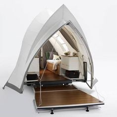 opera high end tent trailer end view photo