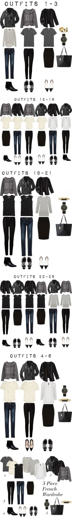 5 Item French Wardrobe by designismymuse on Polyvore featuring Madewell, Lauren Ralph Lauren, ASOS, American Eagle Outfitters, 7 For All Mankind, Dorothy Perkins, Mossimo, Zara, H&M and Line - I love this idea: a few items that you can use for multiple outfits. I don't love the leather jacket, patterned blazer or the shoes, but the idea is great.