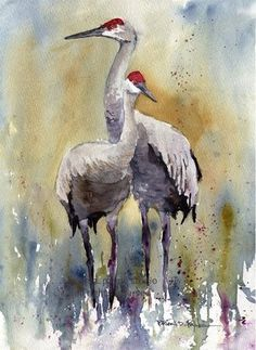 "***""Sandhill Cranes"" is the fifth FEATURED PAINTING of our 15 Year Anniversary Sale! inches, original watercolor on kilamanjaro archival paper, beautiful oak frame. Bird Painting Acrylic, Watercolor Canvas, Watercolor Bird, Watercolor Animals, Watercolor Landscape, Watercolour Painting, Painting & Drawing, Pour Painting, Watercolor Artists"