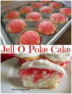 Strawberry Jell-O Poke Cupcakes recipe from The Country Cook. Super simple to make and everyone loves them. www.thecountrycook.net