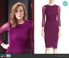 Phyllis's magenta dress with sheer sleeves on The Young and the Restless.  Outfit Details: https://wornontv.net/61419/ #TheYoungandtheRestless