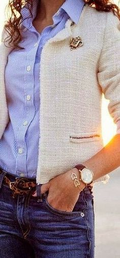 White Coat With Lining Shirt And Jeans- this is really close to my fabric choice for my claire shaeffer jacket