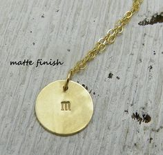 14k Gold and Initial Necklace Letter by PointNoPointStudio on Etsy, $155.00