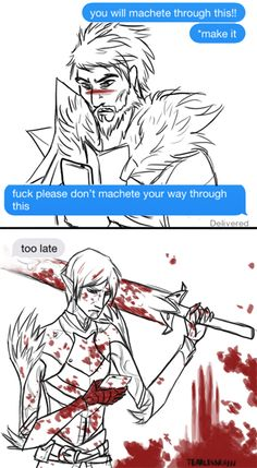 tearlessrain: Every time I see this post this is all I can think of so I did a thing. Fenris & Hawke. FenHawke. Dragon Age: II. <3