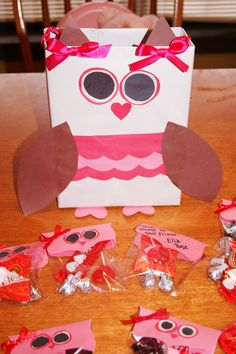 Owl Valentine holder made from a cereal box and Owl Valentines.